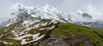 Late afternoon clouds forming on Eiger Mnch and Jungfrau -