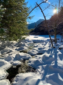 Late afternoon crossing East Branch Ausable River via Beaver Meadow Trail NY Adirondack High Peaks Wilderness