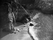 Late afternoon light at McWay Falls in Julia Pfeiffer State Park Big Sur CA Shot on black and white film