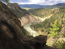 Late afternoon light over Yellowstone River in Yellowstone National Park CO x