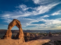 Late days light on Delicate Arch Arches NP Utah