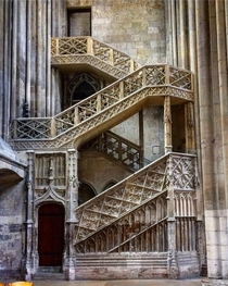 Late gothic staircase by Guillaume Pontis  at the Rouen Cathedral