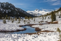 Late spring thaw Lostine Meadows Eagle Cap Wilderness OR