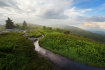 Late spring thunderstorm clearing over Black Balsam Knob NC