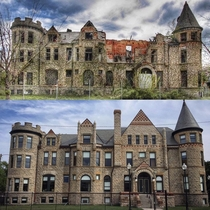 Late th century Richardsonian Romanesque style James Scott Mansion converted into apartments after  when the original owner died then abandoned in the s and left to rot for decades before being bought in  Recently restored and reopened as apartments in Mi