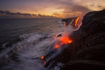 Lava flowing into the ocean from Kilauea on the island of Hawaii  Photo by Tom Kualii