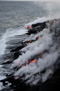 Lava going into water at Volcanoes National Park
