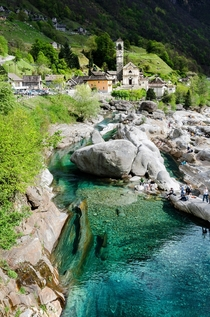 Lavertezzo village and the turquoise Verzasca River - Ticino Switzerland