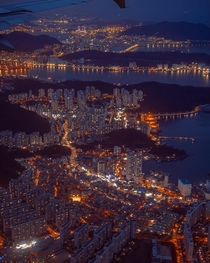 Layers of cityscape and nature seen from the air Busan South Korea