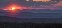 Layers of the Appalachian Mountains Sunset from Shenandoah National Park VA