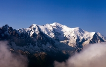 Le Mont Blanc -  m  ft - between the regions of Aosta Valley Italy and Haute-Savoie France  x