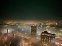 Leeds UK on a foggy night