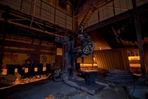 Left over machinery in an old granite mill in Indiana OC x