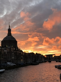 Leiden the Netherlands at sunset