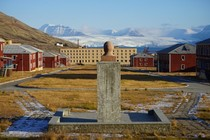 Lenin bust overlooking Pyramiden a Soviet Ghost town at  Degrees North