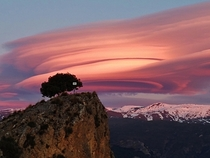 Lenticular clouds at sunset Sierra Nevada Spain