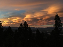Lenticulars stretching from horizon to horizon at sunset Helena MT