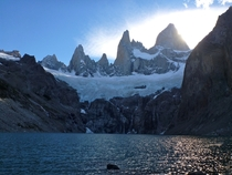 Less seen view of Mt Fitz Roy from Lago Sucia Patagonia Argentina