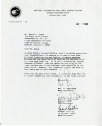 Letter from Armstrong Aldrin and Collins NASA to the WI Crime Lab