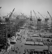 Liberty ships under construction in a Baltimore shipyard during WWII