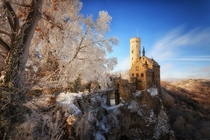 Lichtenstein Castle in winter Baden-Wrttemberg Germany