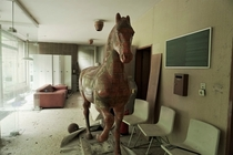 Life size Horse Statue in the entrance hall of Austrias House of a  Stories  More in the Comments