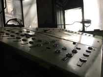 Lift control panel in an abandoned mine