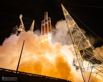 Liftoff of the behemoth Delta IV Heavy rocket sending the Parker Solar Probe on its journey to touch the sun