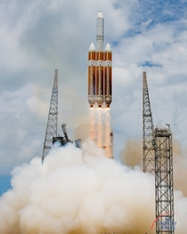 Liftoff of the Delta IV Heavy rocket carrying the NROL- payload to orbit