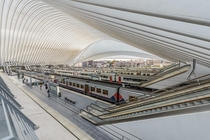 Lige-Guillemins railway station in Lige Belgium - Designed by Calatrava completed