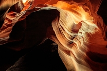 Light illuminates the patterned walls of the Antelope Canyons - Page Arizona