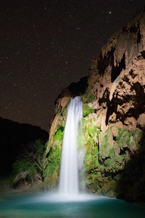 Light painting Havasu Falls Supai AZ