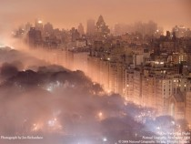 Light pollution and fog combine to blur a New York City