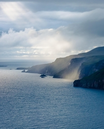 Light Rays breaking through low hanging cloud at Sliabh Liag Donegal Ireland