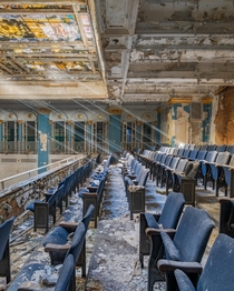 Light Rays Shining in an Abandoned School Auditorium