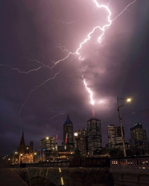 Lightening strike over the Melbourne skyline my pic