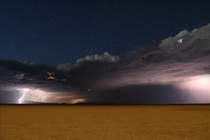Lightning and stars in the Black Rock Desert Nevada When Burning Man isnt here
