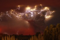Lightning flashes around the ash plume of the Puyehue-Cordon Caulle volcano chain near Entrelagos Chile