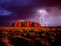 Lightning flashes over Ayers Rock