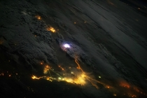 Lightning over Arabian Peninsula taken from ISS