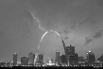 Lightning over St Louis and the Gateway Arch at night black and white