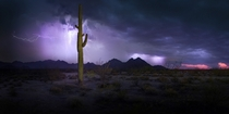 LIghtning over the White Tanks Az By Ben Coffman