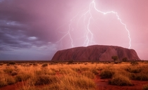 Lightning over Uluru Ayers Rock NT Australia Photo by Christoph Schaarschmidt