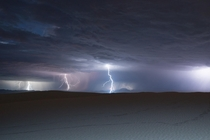 Lightning over White Sands National Monument New Mexico during monsoon season