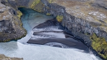 Lightning pattern in black sand river in Iceland
