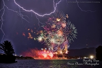 Lightning Storm during a fireworks display Canberra Australia