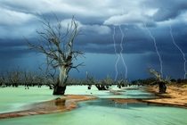Lightning storm over Lake Menindee New South Wales Australia  photo Julie Fletcher