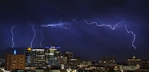 lightning storm over Salt Lake City Utah