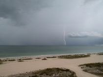 Lightning strike in the Gulf of Mexico viewed from Clearwater Florida