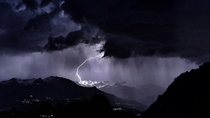 Lightning strike in Valais Switzerland